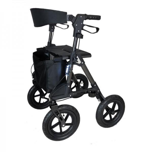 Der Geländerollator Magnum - das Rollator Luxusmodell mit Luftbereifung (Titan)