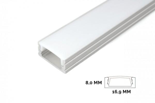Aluminium profile for LED strips (17 x 8 mm)